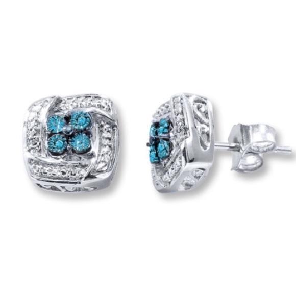 f42549d99 Kay Jewelers Jewelry - Sterling Silver Blue Diamond Square Stud Earrings